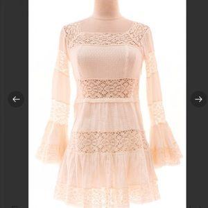 Free People ivory crochet bell sleeve dress, sz 0